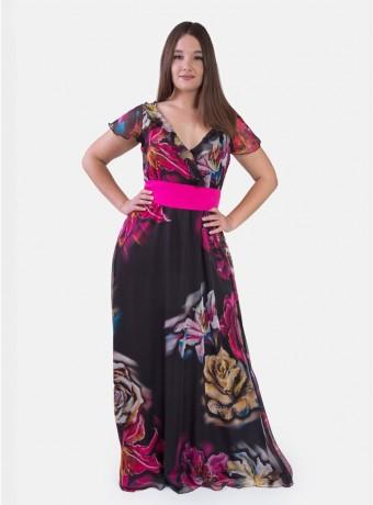 Vestido largo con flores sobre fondo negro con cuello en V