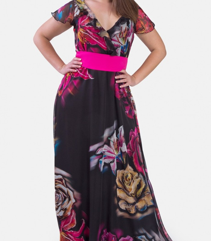Maxi dress with flowers on black background with V neck