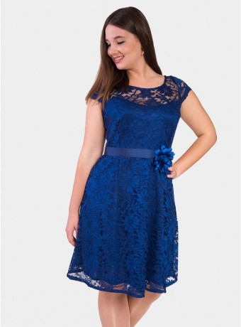 Midi lace dress with crew neck in blue