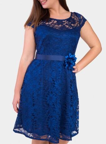 Vestido midi de blonda con cuello redondo en azul