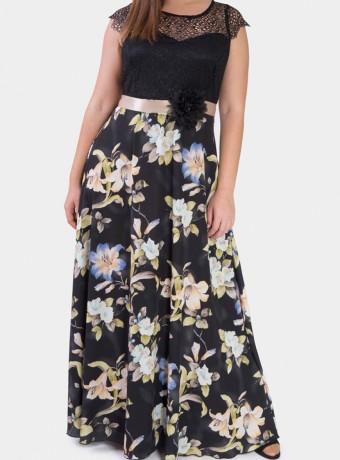 Vestido largo sin mangas con estampado floral sobre fondo negro