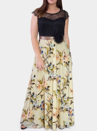 Vestido largo sin mangas con estampado floral sobre fondo beige
