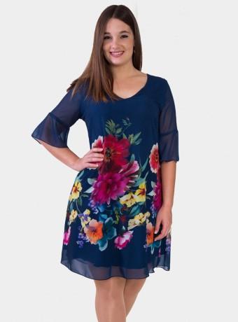 Vestido floral con volantes en mangas en azul