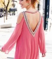 Chiffon dress with embroidery and neckline on back
