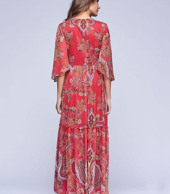 Vestido largo estampado paisley con pedrería en el cuello