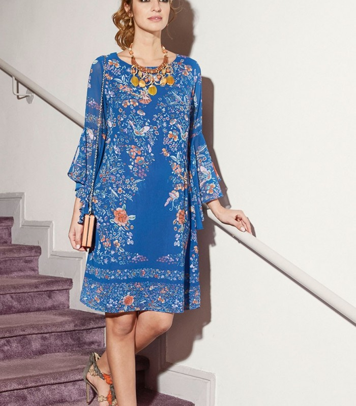 Chiffon dress with bird stamp