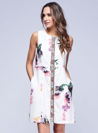 Vestido corto sin mangas de estampado floral en blanco