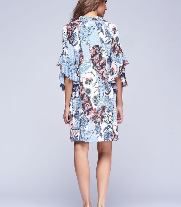 Vestido corto de cuello en pico con estampado patchwork