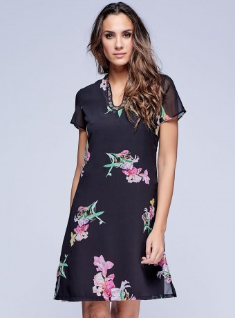 Dress with embroidered neckline in black