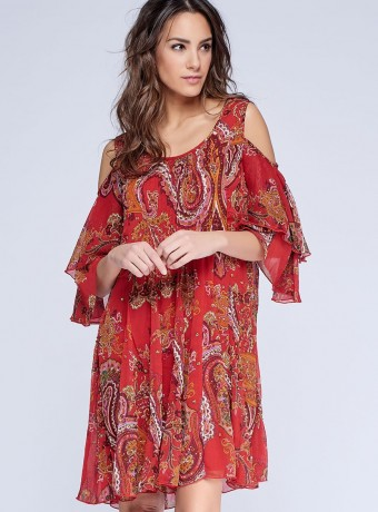 Shoulder off midi dress with paisley printing and embroidery