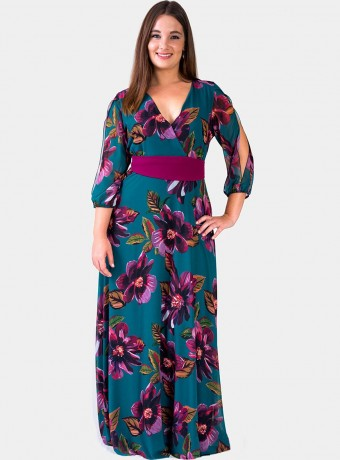 Print maxi dress Trios with crossed neckline