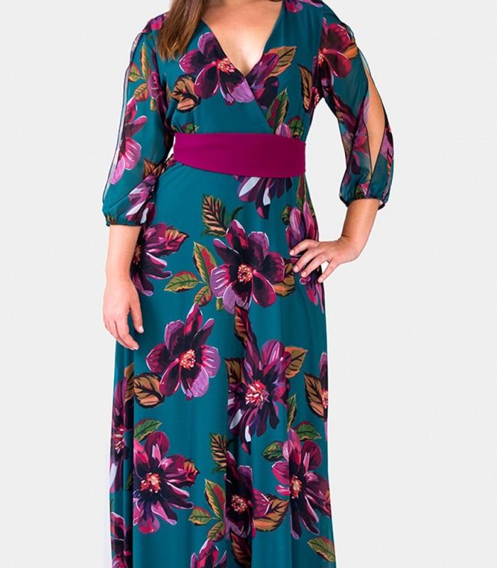 Print maxi dress Trios with crossed neckline