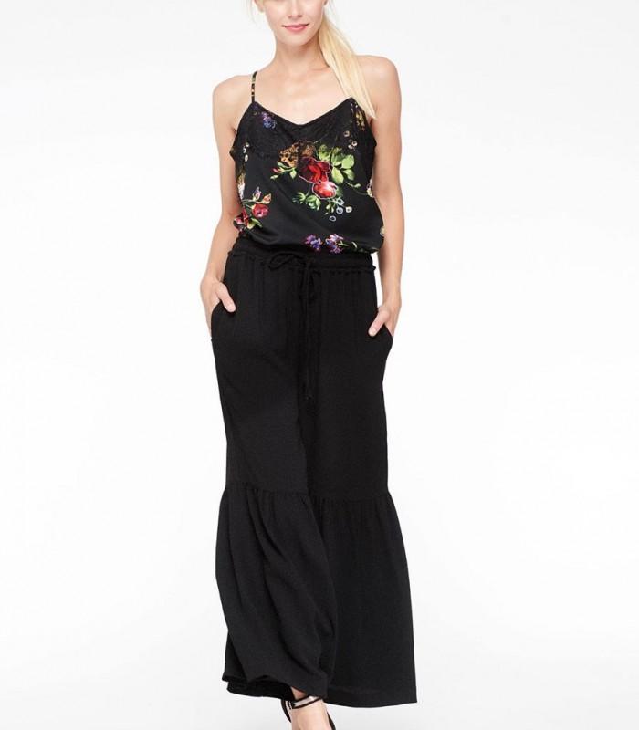 Top lencero Niza floral en negro