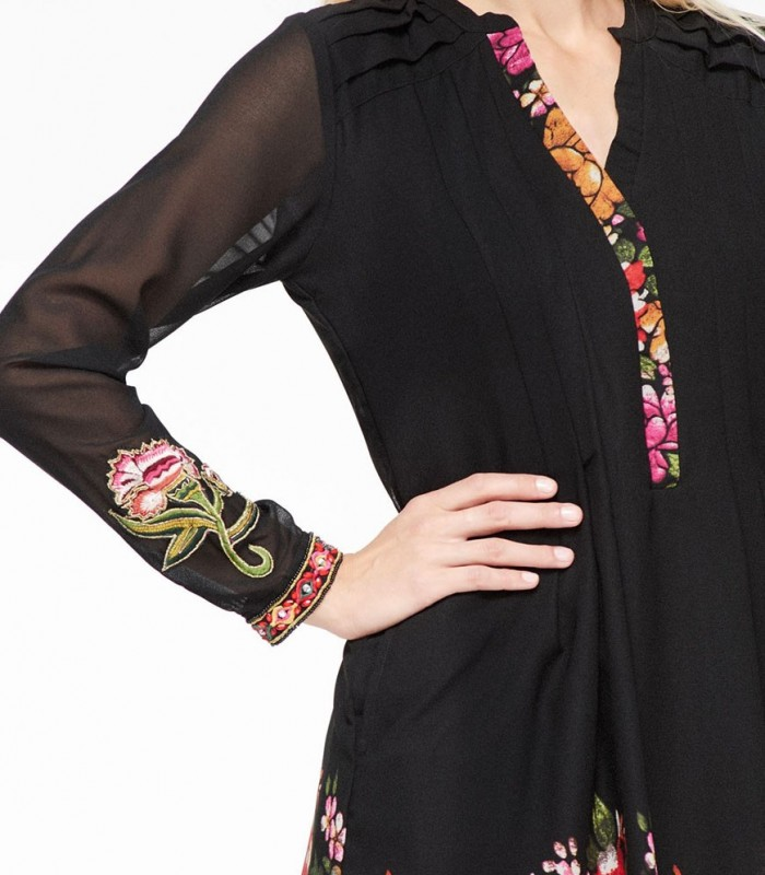 Midi dress Niza with floral print in black