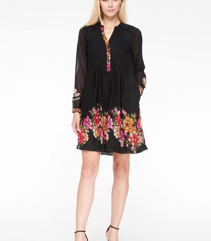 Vestido midi Niza con estampado floral en negro