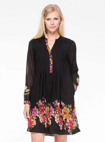 Midi dress Niza with floral print in black