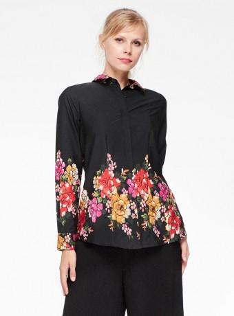 Blusa de mangas largas Niza con estampado floral en fondo negro