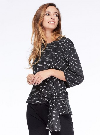 Blouse Niza with check pattern and crew neck