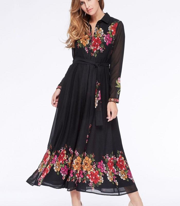Maxi shirt dress Niza with floral printing