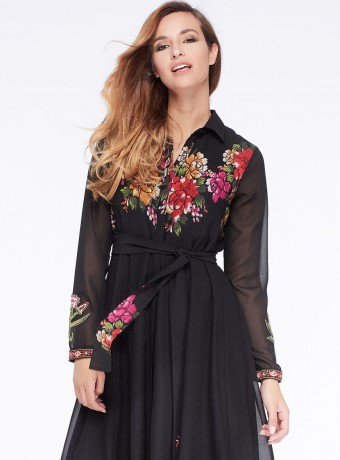 Maxi shirt dress Niza with floral printing