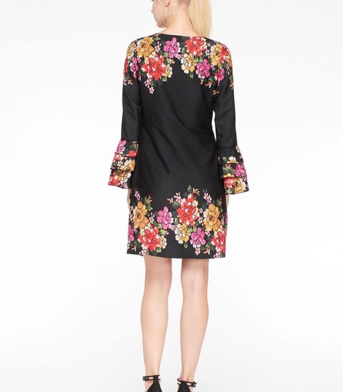 Midi dress Niza with floral printing and ruffles