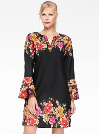 Midi dress Niza with floral printing and ruffles