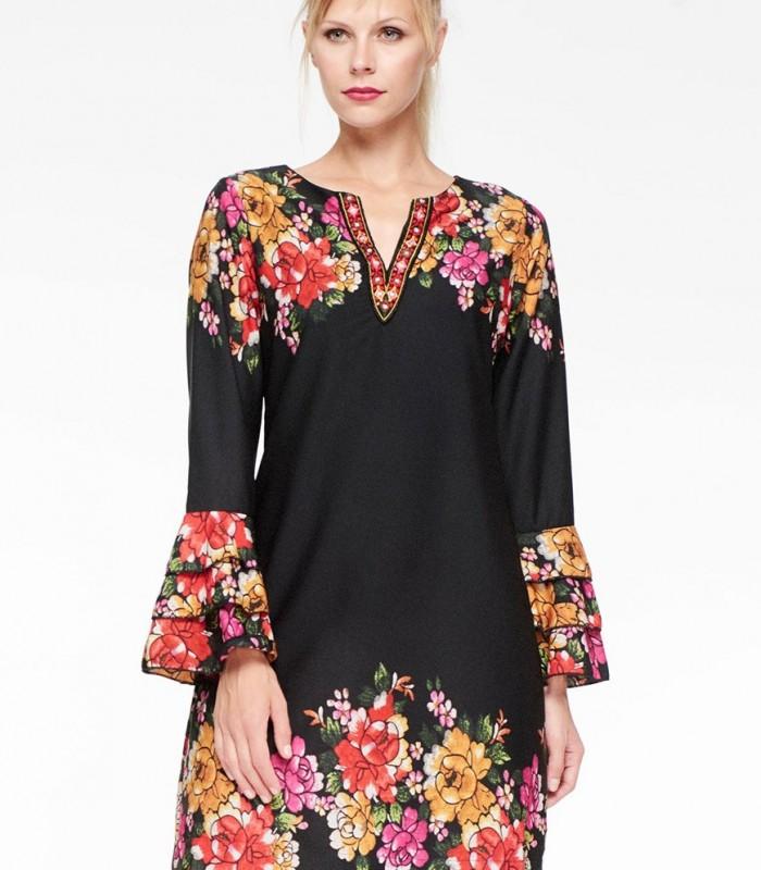 Vestido corto Niza de estampado floral con volantes