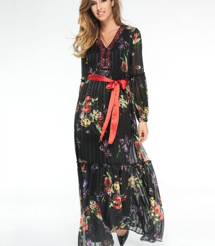 Vestido largo Niza con bordados y pedrería