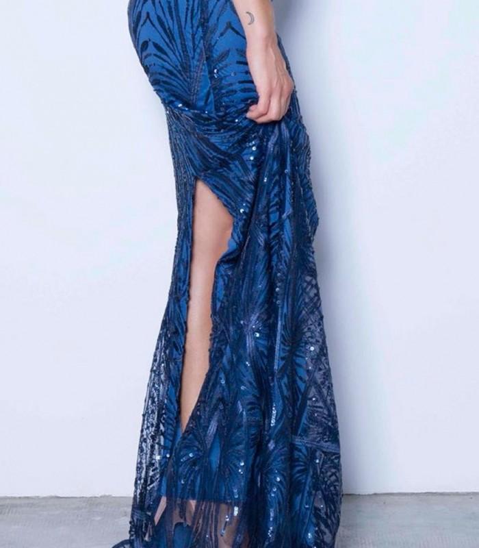 Vestido azul largo lentejuelas