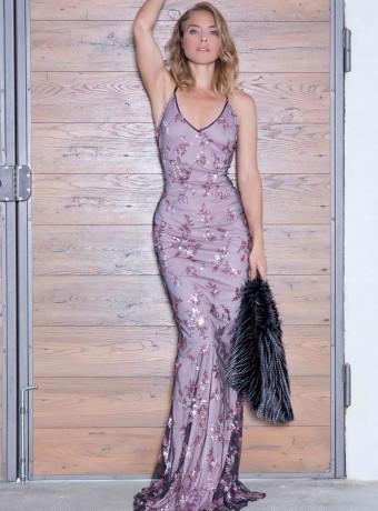 vestido largo de lentejuelas rosas
