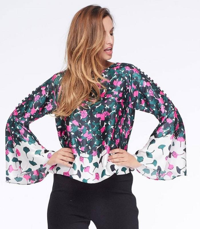 Blusa estampado geométrico detalle manga
