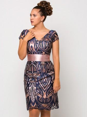 Vestido luisa jaro de encaje azul marino
