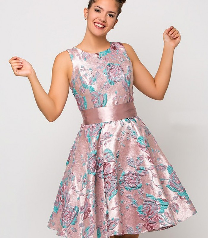 Sleeveless evase midi dress with printing