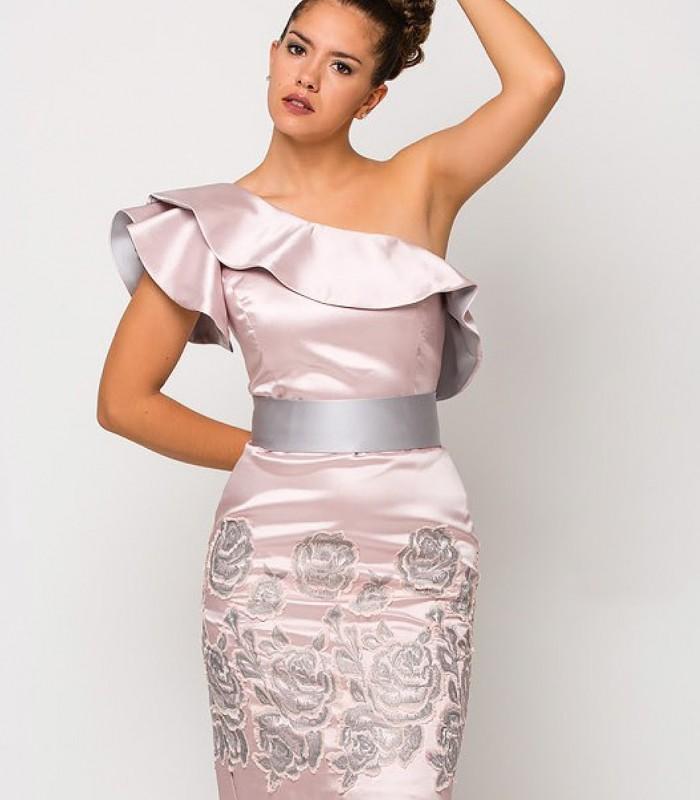 Vestido Luisa jaro Corto asimétrico rosa palo
