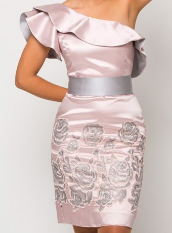 Asymmetric midi dress Luisa Jaro in light pink