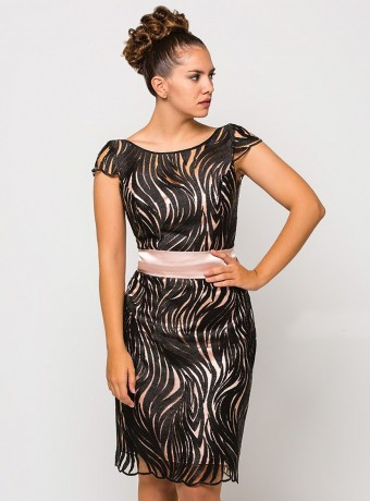 Black Luisa Jaro Dress with pink background