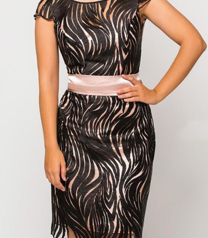 Vestido Luisa jaro negro con fondo rosa