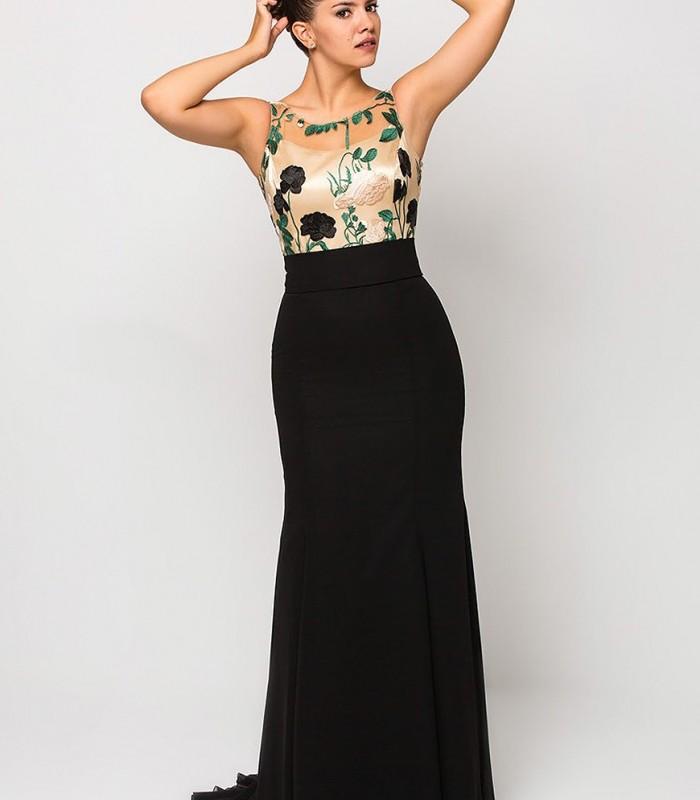 Vestido Luisa jaro largo con bordado en el top