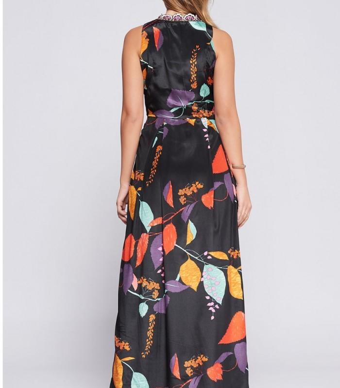 Leaf print maxi dress Niza with embroidered neck