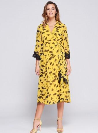 Vestido midi amarillo estampado en flores