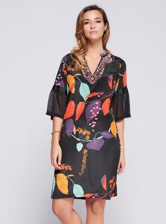 Vestido Niza corto estampado de hojas y cuello bordado