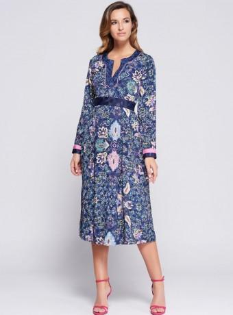 Print midi dress Niza with V neck