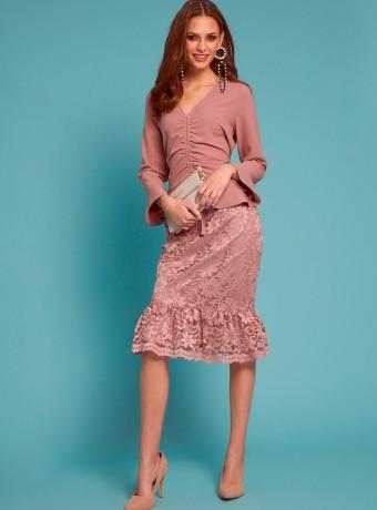 Falda Almatrichi lirico rosa palo