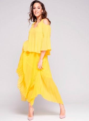 Falda niza larga plisada amarilla