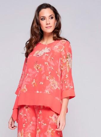 Asymmetric floral print Niza blouse