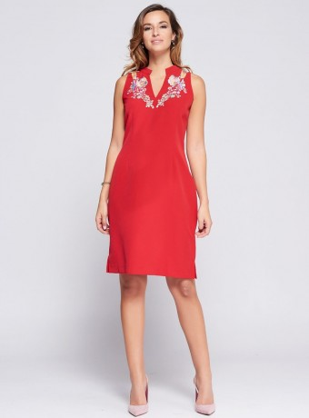 Mao neck straight Niza dress in red