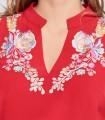 Mao neck straight Niza dress in red