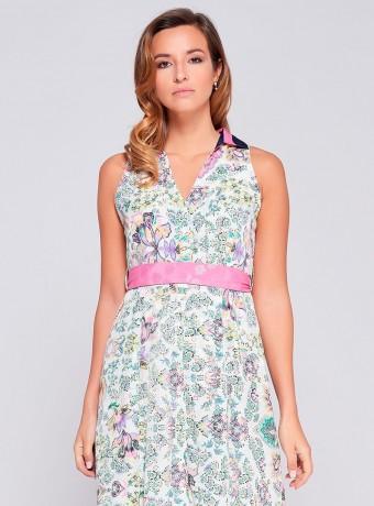 Print V neck Niza dress