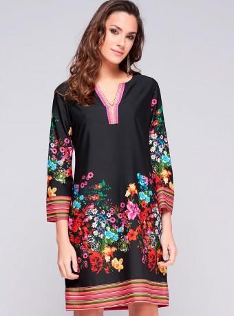 Vestido Niza negro con estampado de flores y rayas