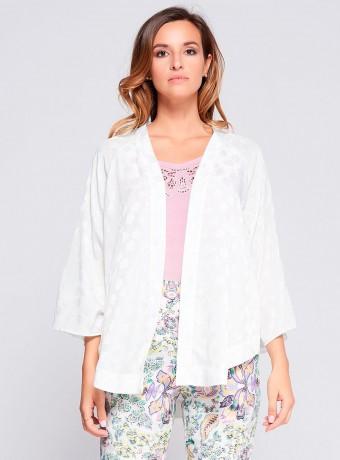 Kimono niza blanco bordado